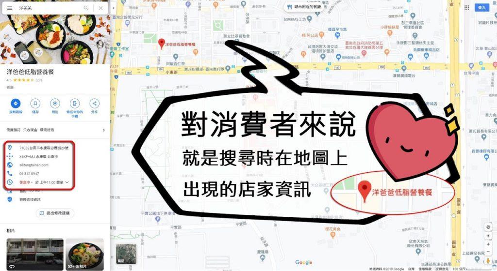 對消費者來說就是搜尋時在地圖上出現的店家資訊