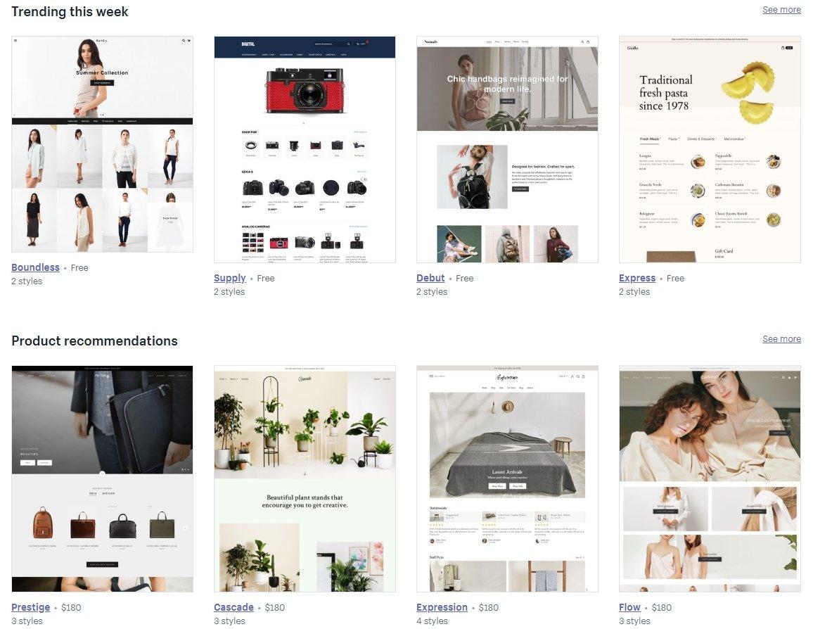Shopify版型範例