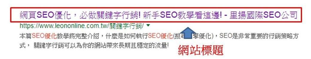 里揚數位行銷-針對各項SEO結構進行優化,改善SEO體質-網站標題(Title)